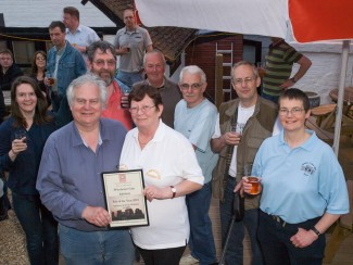 Landlord and landlady Bill and Anne Duncan receive the Pub Of The Year award for 2010 from the local branch of CAMRA - the Campaign for Real Ale