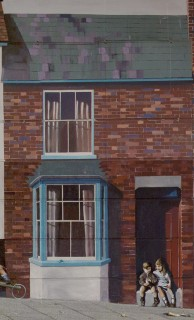Number 16 features on the mural with two children sitting on the doorstep. These are imaginary characters as my mother would not have allowed my sister and I to do this!   Mural by Fred Fieber and Anthony Woodward, photo by John Palmer
