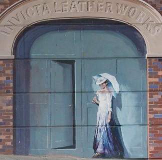 The entrance to the Invicta Leather Works as seen on the mural | Mural by Fred Fieber and Anthony Woodward, photo by John Palmer