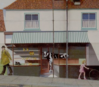 Percy Andrew's the 'cow-walloper', drove the cattle from Milford Goods Yard  to the Market. Some cattle invariably escaped, some of our interviewees remember them crashing into Foster's Bakery in Milford Street - as depicted on our Mural. | Photo by John Palmer