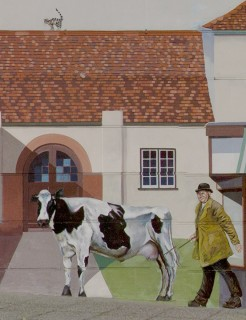 Percy 'Porky' Andrews lived with his parents in one of the houses near Percy Churchfield's Dairy. On market days, he drove cattle between the market and Milford station, dressed in a long brown coat and flapping gum boots. The cow in the this mural picture looks placid, as does the one standing in Fosters Bakery, but often the animals broke into a gallop with Percy hollering and swinging his cane behind them!  | Mural by Fred Fieber and Anthony Woodward, photo by John Palmer