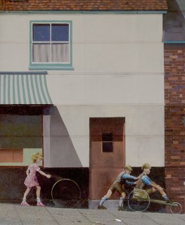 The scene in the Bridge Mural of children playing in the street | Mural by Fred Fieber and Anthony Woodward, photo by John Palmer