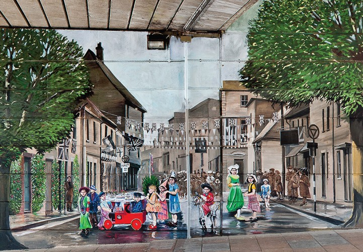 The third scene in the Jubilee Mural, showing celebrations in Pennyfarthing Street | Mural by Fred Fieber and Anthony Woodward, photo by Peter Marsh