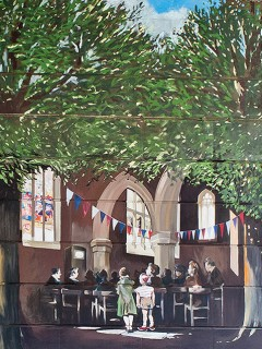 The fourth scene in the Jubilee Mural, showing people watching the Coronation on a television in St. Edmund's Church | Mural by Fred Fieber and Anthony Woodward, photo by Peter Marsh