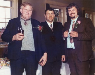 Percy Andrews (pictured at his nephew's wedding in 1972) lived with his parents, sister and nephew in one of the houses near Percy Churchfields Dairy. As a 'cow walloper', he became something of a celebrity and is featured on the mural. | Photo by kind permission of Tony Baker