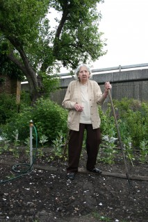 Phyllis Maple lost the bottom of her garden when Churchill Way was built.  | Photo by Anna Tooth