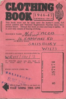 Although the war was over, the shortages continued into the next decade, even children born in 1952 being issued with ration books. This clothing ration book is one of two issued to Nora Jacob between 1946 and 1948. | Reproduced by kind permission of the Jacob family