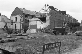 When this photograph was taken, a number of the houses had been demolished showing the Invicta leatherworks and some of Culver Street behind. | Picture by kind permission of the Salisbury Journal