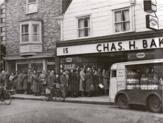 Chas H Bakers, Milford Street, in the 1950s. Notice the Rampart Road dairy milk float in the foreground. | Photo courtesy of Chas H Baker and Sons