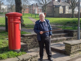George Fleming the creator of our walk shows you our starting point at the post box on the Greencroft. | John Palmer