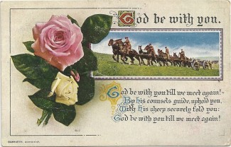 This is a typical example of the religious and patriotic postcards sent to soldiers in the First World War. However, conditions on the battlefields of France and Belgium were very different from the pastoral scene on the front! | Postcard from the Jacob family's collection