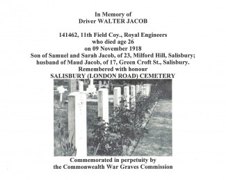 Walter Jacob's death is commemorated on the Commonwealth Graves Commission's website. The picture shows his grave in London Road Cemetery.