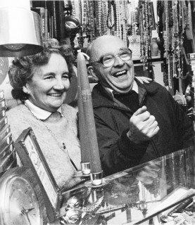 Jim and Mary having a laugh behind the counter. With kind permission of Mary Smith
