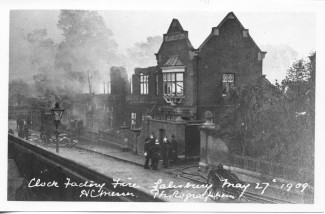 Clock Factory fire Tollgate Road, May 27th 1909.  | With kind permission of Salisbury and South Wiltshire Museum © Salisbury Museum