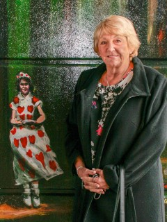 Cynthia Cooper at the offical opening of the Jubilee Mural, next to the image of her as The Queen Of Hearts | Anna Tooth