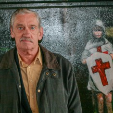 Michael Webb at the official opening of the Jubilee Mural, with his image as Richard The Lionheart | Anna Tooth