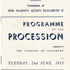 The cover of the prgramme for Salisbury's 1953 Coronation procession