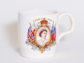 A mug celebrating the 1953 Coronation was given to each child in Salisbury. My mother had to collect our mugs from a building in St. Thomas's Square that was next to Snell's café and chocolate shop. | Photograph taken by John Palmer