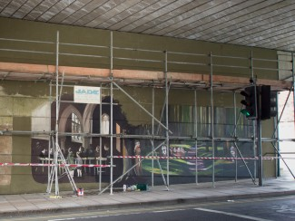 The Jubilee Mural scenes in St. Edmund's Church and the gardens are taking shape   John Palmer