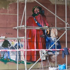 The Salisbury Giant, St.. Christopher, and his assistant Hobnob are coming to life in the Jubilee Mural | John Palmer