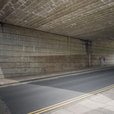 The north side of the Bridge, where the Jubilee Mural is now, before painting started showing the bare concrete walls | John Palmer