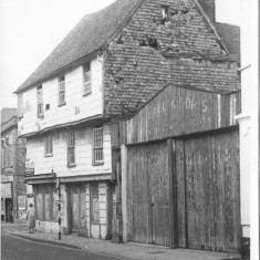 Michael and Doris' Warehouse (you can just see the name fading on the outside). Boarded up for sale 1971. | With kind permission Salisbury and South Wiltshire Museum © Salisbury Museum