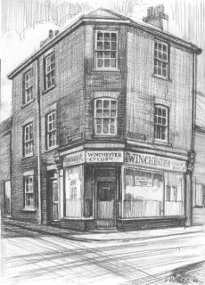 This drawing is of the Cyclists Rest, on the corner of Winchester Street and Guilder Lane - home to Eileen O'Leary as a young girl (see more about Eileen in the mural characters section) | Drawing by Fred Fieber