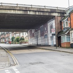 The original Milford Street Bridge mural, seen from Milford Street looking Eastwards away from the city | John Palmer