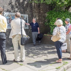 George introduces our visitors to the Winchester Street mosaic | John Palmer