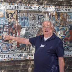 George pointing out the bunks at Churchill's lodging house | John Palmer
