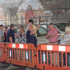 George doing his best to be heard over the noise of the roadworks as he describes the Jubilee Mural | John Palmer
