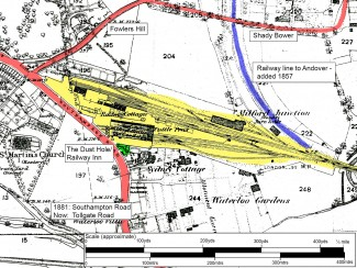 Annotated map of the area around Milford Goods Yard, from the 1881 Ordnance Survey | Thanks to Salisbury Reference Library