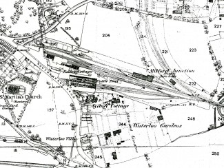 An old map of the area around Milford Goods Yard, from the 1881 Ordnance Survey | Thanks to Salisbury Reference Library