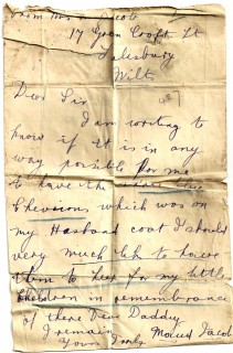 After Walter's death, Maud sent a letter to the Red Cross Office requesting the return of the chevrons that were sewn on his coat. | By kind permission of the Jacob family