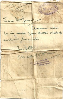 Maud received a reply written on the back of her letter, the chevrons attached with a pin. | By kind permission of the Jacob family