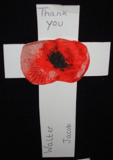 As part of the 2014 commemorations, local school children wrote messages on crosses, one for each Wiltshire man who died during the First World War. The young grandson of one of the clergy located Walter's cross when it was displayed in Salisbury Cathedral. | By kind permission of the Jacob family
