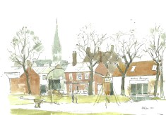 A painted view of the Greencroft.