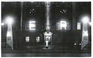This photograph shows the front of Salisbury Infirmary decorated for the coronation of Elizabeth II. My father was the assistant engineer at the time and helped set these up, the E being similar to the one on 16 Rampart Road during the VE celebrations. | Photograph supplied by John Scadden