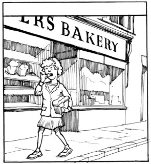 Iris used to sneak a bite from each of the four corners of her Grandfather's loaf! | Copyright Fred Fieber.