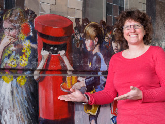 Lisa Parrott, née Robertson, who was the girl in the pillar box in the Jubilee Mural | John Palmer