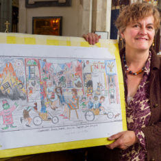 September 2017 -  mosaic designer Joanna Dewfall with her design for the Greencroft mosaic
