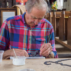 September 2017 - the first day with the volunteers making the Greencroft mosaic at St. Thomas' church