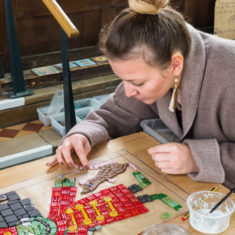 Erika developed specialist skills while making the mosaic - here she is puttting the finishing touches on her third rat!