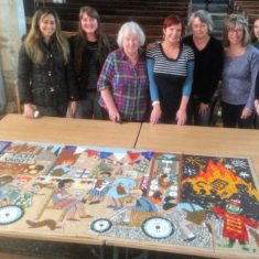 Making the mosaic - day 4. All sections are put together to see how much more we need to do!