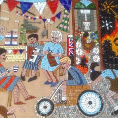 After 4 days of work by our team of volunteers, the mosaic is looking great.