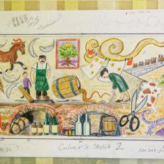Joanna Dewfall's design sketch for the Culver Street mosaic | John Palmer