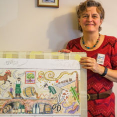 Mosaic designer Joanna Dewfall with her draft design for the Culver Street mosaic | John Palmer