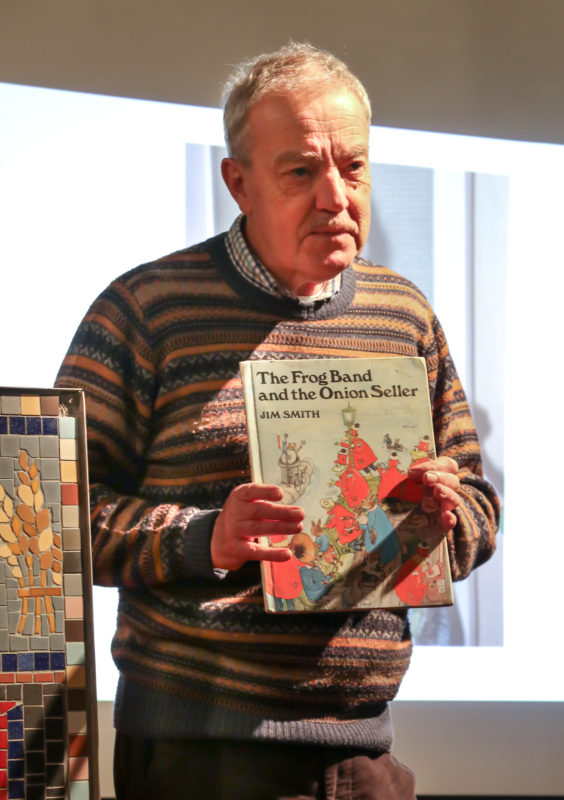 Ken Smith talks about his Dad Jim's literary career...which explains why a frog in a red jacket is on the mosaic!