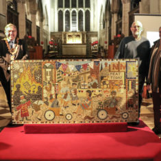 Rector of St Thomas's Kelvin Inglis, who blessed the mosaic; Mayor John Lindley; Rev'd Jon Plows; ken Edwards, & Ron Holloway | Spencer Mulholland