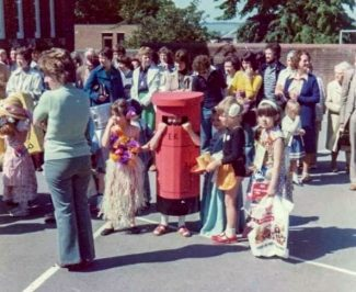 Lisa's family photo of her pillar box outfit   With thanks to Lisa Parrott